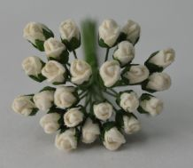 4mm OFF WHITE ROSE BUDS Mulberry Paper Flowers